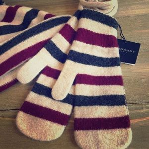 Authentic BURBERRY Striped Wool Mittens